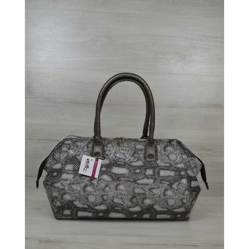 21d8a1c64e1e Классическая женская сумка Welassie Оливия серая змея 31905 купить в ...