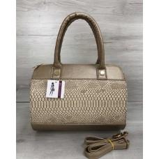 bfe95a405c66 Женская сумка Welassie маленький саквояж золотого цвета со вставкой бежевая  рептилия 32001