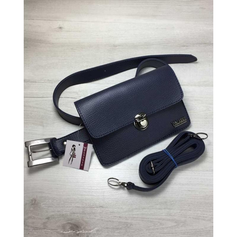 933b7d2a3902 Женская сумка на пояс-клатч Welassie Арья синего цвета 60403 купить ...