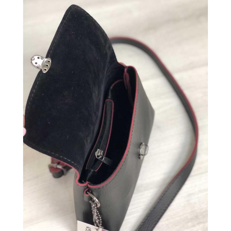 d862f1b76aa9 ... Женский клатч на цепочке Welassie Белла черного с красным цвета 60656