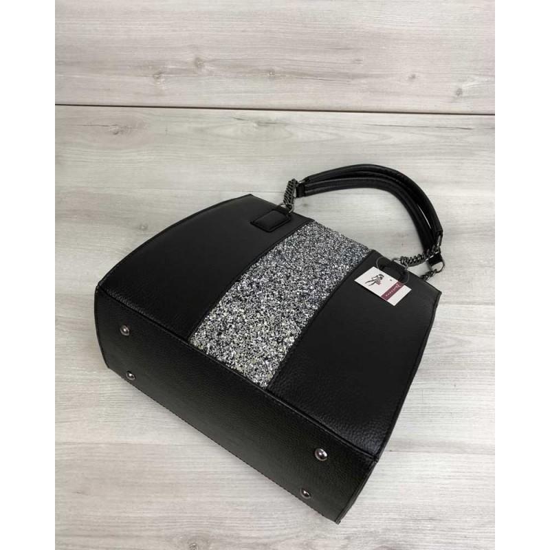 68efddf1db20 ... Каркасная женская сумка Welassie Адела черного цвета со вставкой блеск  32102 ...