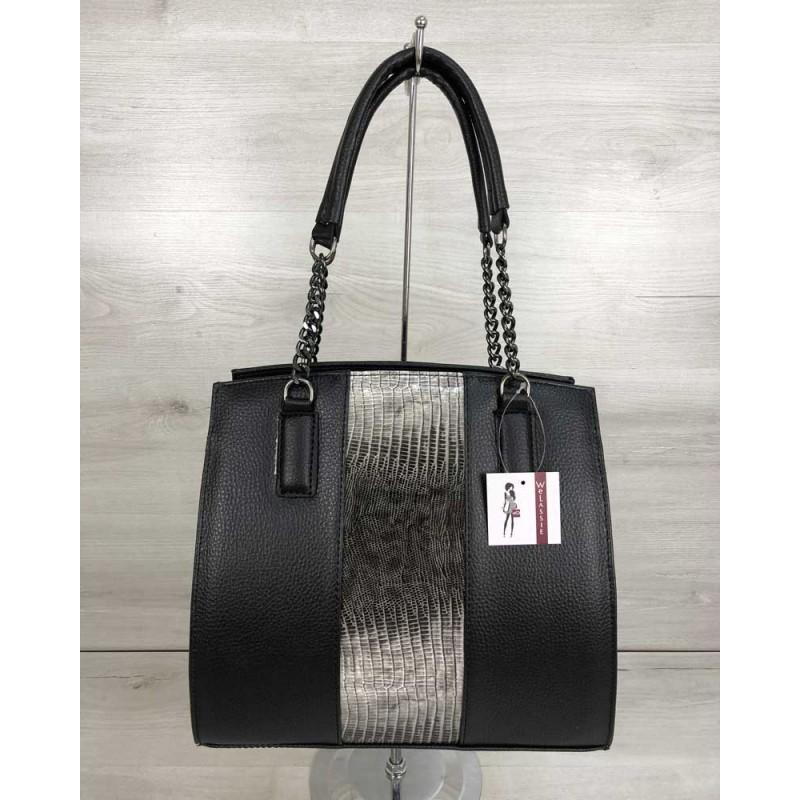 d51f6aeddd61 Каркасная женская сумка Welassie Адела черного цвета со вставкой серый лак  32101