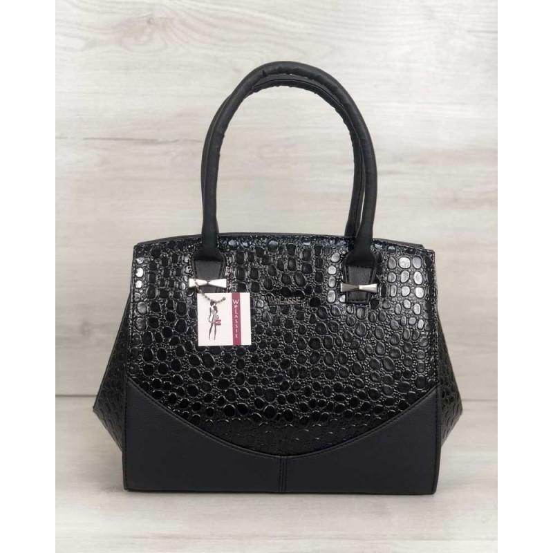 8aec3f16c4b2 Каркасная женская сумка Welassie Виржини черного цвета со вставками черный  лаковый крокодил 31302