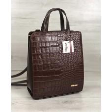 Молодіжний каркасний сумка-рюкзак коричневого кольору зі вставкою коричневий крокодил 44805