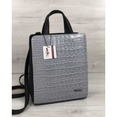 Молодіжний каркасний сумка-рюкзак чорного кольору зі вставкою сірий крокодил 44804