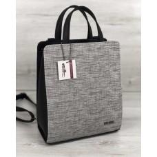 Молодіжний каркасний сумка-рюкзак чорного кольору зі вставкою сірий 44803