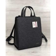 Молодіжний каркасний сумка-рюкзак чорного кольору зі вставкою блиск 44802
