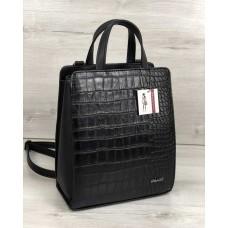 Молодіжний каркасний сумка-рюкзак чорного кольору зі вставкою чорний крокодил 44801