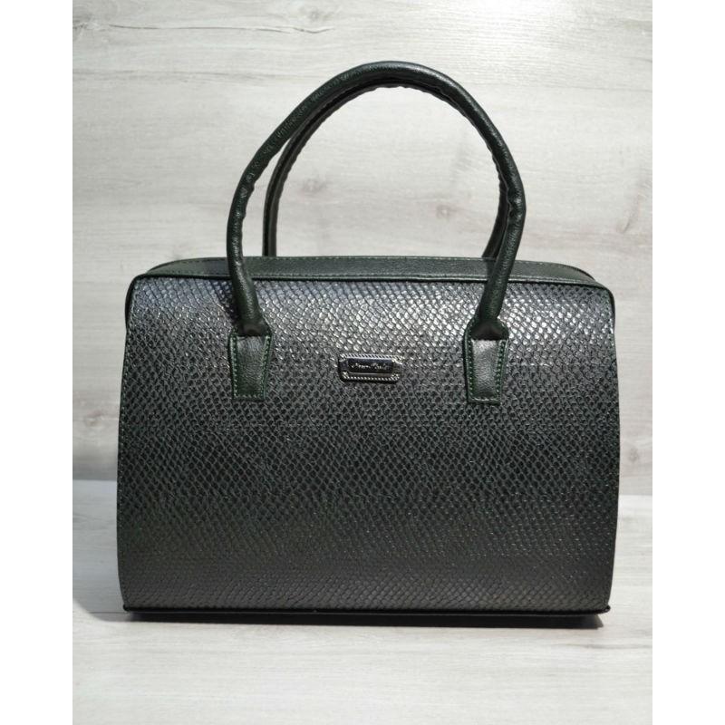 f36429f7de62 Каркасная женская сумка Welassie Саквояж зеленая змея 31125 купить в ...