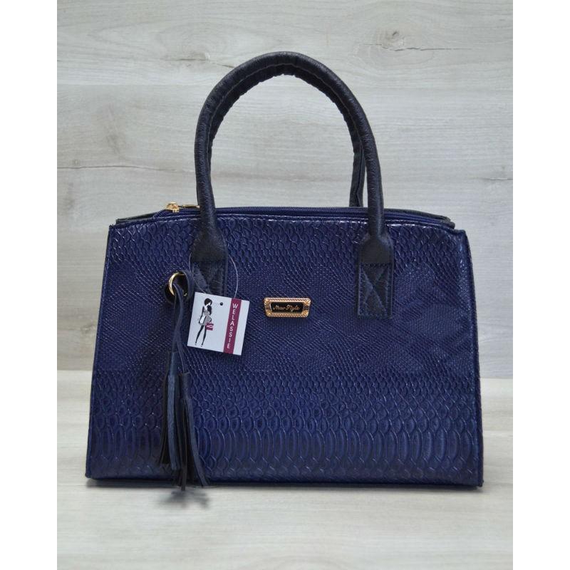 3858983636ea Молодежная женская сумка Кисточка синяя рептилия 52025 Welassie ...