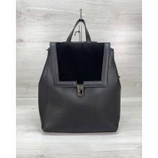 Сумка рюкзак «Луи» с замшем черный Welassie 46424