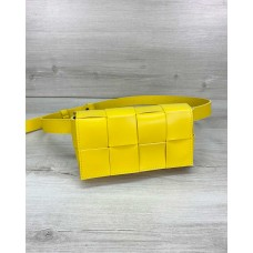 Жіноча сумка клатч на пояс «Енді» плетена жовта Welassie 63915