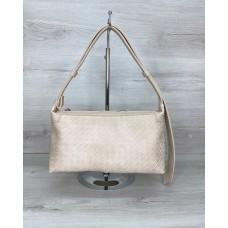 Жіноча сумка «Догі» бежева плетені Welassie 64119