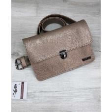 Жіноча сумка на пояс клатч «Арья» золотого кольору Welassie 60413