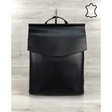 Кожаная сумка рюкзак молодежный черного цвета Welassie K4426