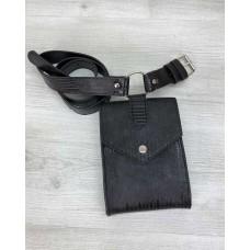 Жіноча сумка на пояс «Іда» чорна рептилія Welassie 99501