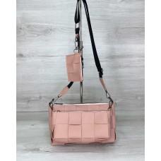 Жіноча сумка «Саллі» комплект 3 в 1 пудрова Welassie 63710