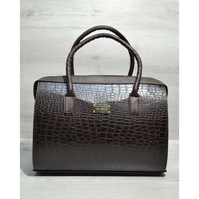 bc0d7384a7f5 Каркасная женская сумка Саквояж коричневый крокодил 31124 Welassie ...