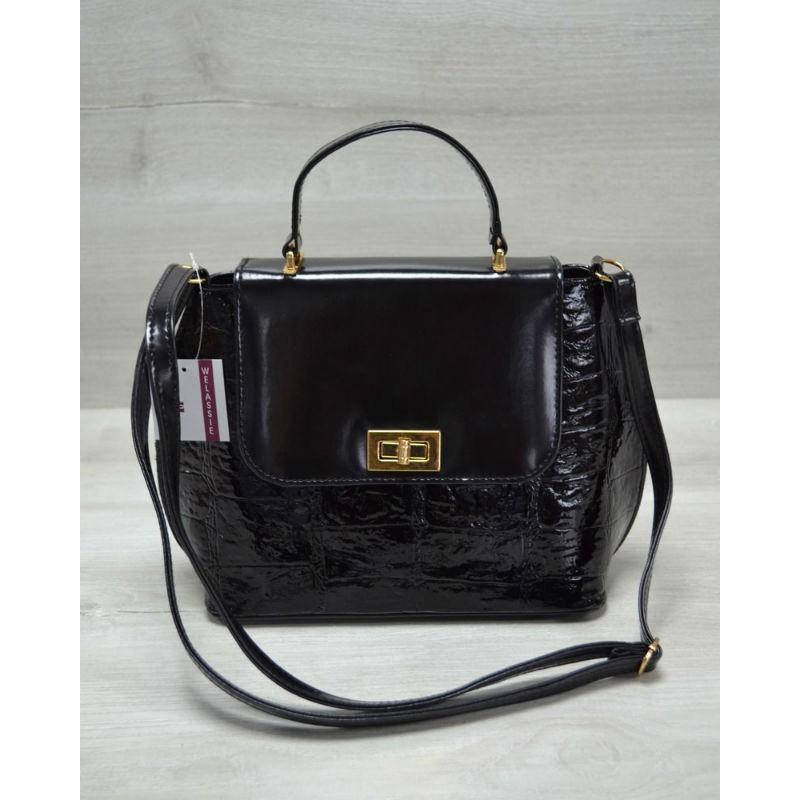 fc4ad1afb0fb Молодежная женская сумка-клатч Welassie черный лаковый крокодил 61408