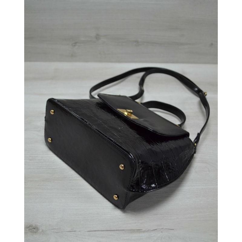 094dec4159b4 ... Молодежная женская сумка-клатч Welassie черный лаковый крокодил 61408
