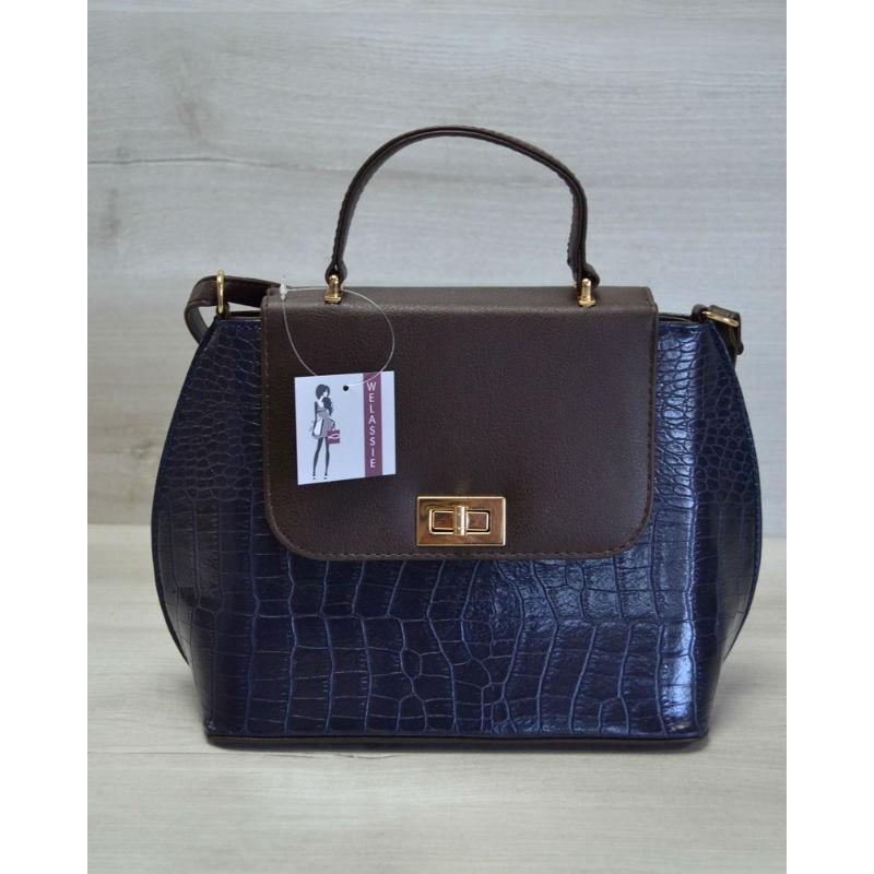f19556eab45c Молодежная женская сумка-клатч Welassie синий крокодил с коричневым гладким  61407