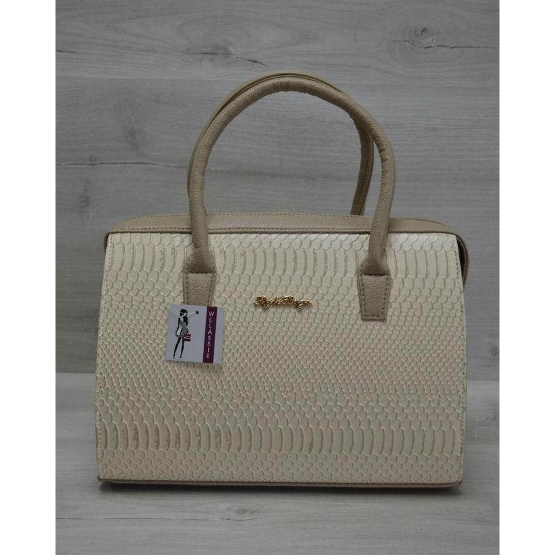 Каркасная женская сумка Welassie Саквояж бежевая рептилия с кофейными  ручками 31118 89cbeac1574