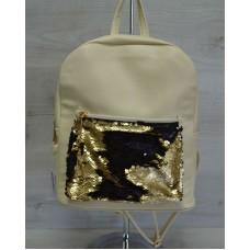 Молодежный рюкзак «Пайетки» золото-черный 42605