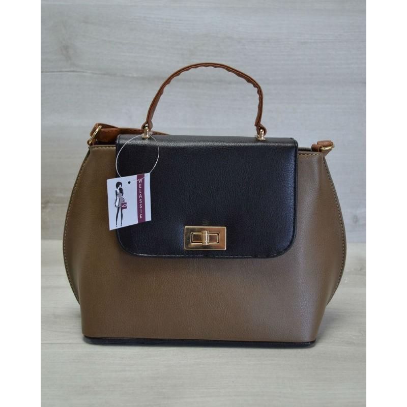 2505a1625ee5 Молодежная женская сумка-клатч Welassie кофейный гладкий 61405 ...