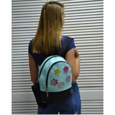 Молодежный рюкзак «Цветочки» голубого цвета 42303