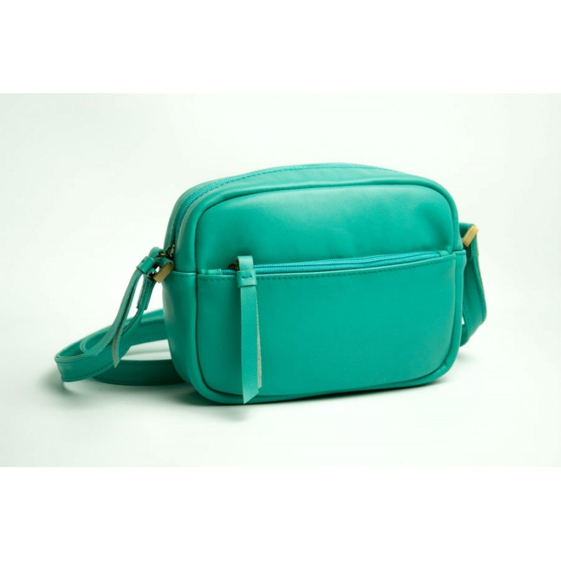 7c6f50843088 Женская кожаная сумка Wellbags CrossBody Verbenka mint green W059.6 мятно- зеленая