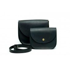 Женская кожаная сумка Wellbags Saddle black mini W008.3M черная