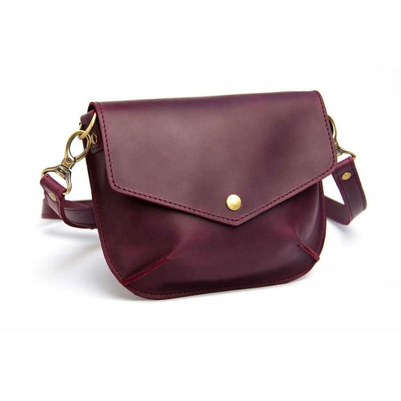 74a998fb57dc Женская кожаная сумка Wellbags Flapbag little vinous W014.6M бордовая