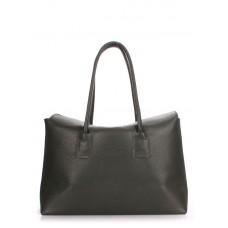 Женская кожаная сумка POOLPARTY sense-khaki темно-зеленая