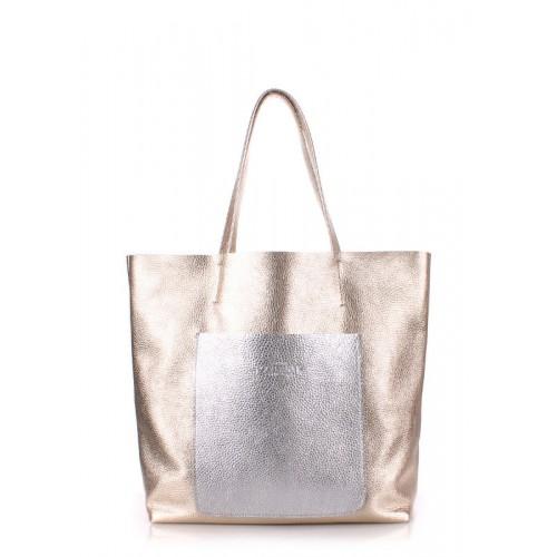 Женская кожаная сумка POOLPARTY mania-golden-silver золотая с серебром