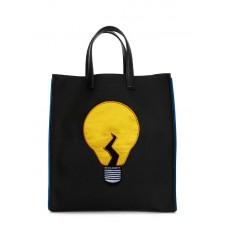 Коттоновая сумка POOLPARTY Electro чорна