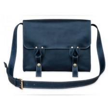 Кожаная сумка Satchel bag blue W020.1 синяя