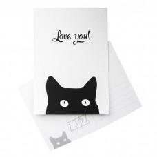 """Открытка """"Черный кот"""""""