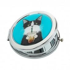 """Карманное зеркало """"Кот со стаканом"""""""