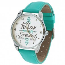 """Часы наручные """"Follow your dreams"""" бирюзовый"""