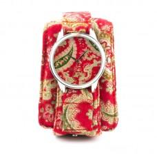 """Годинники наручні """"Червоні турецькі огірки"""" тканинний ремінець"""