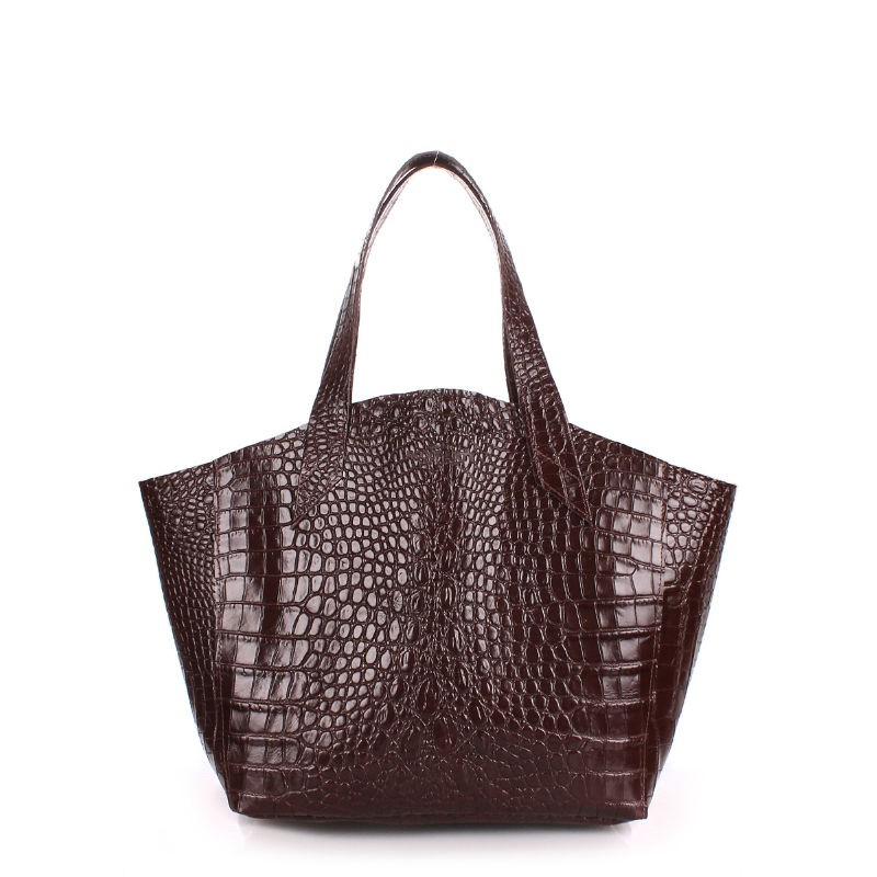 Женская кожаная сумка POOLPARTY fiore-caiman-brown коричневая ... 8363b9bab7f