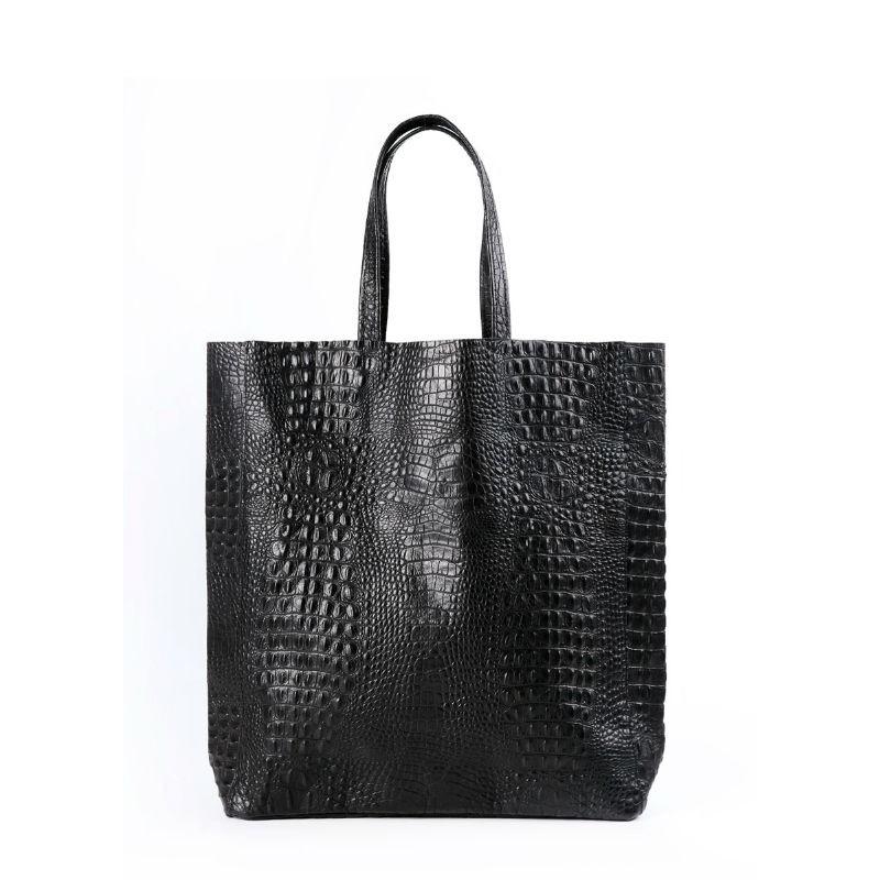50d1d661eb20 Женская кожаная сумка POOLPARTY leather-city-croco-black черная ...