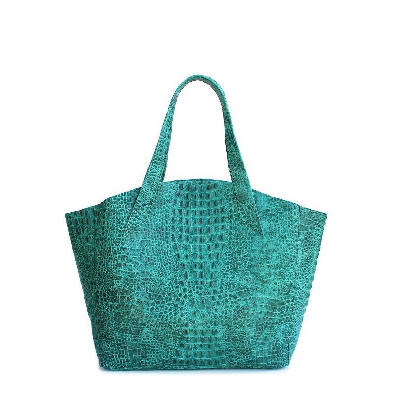 060bb403e227 Женская кожаная сумка POOLPARTY fiore-crocodile-green зеленая купить ...